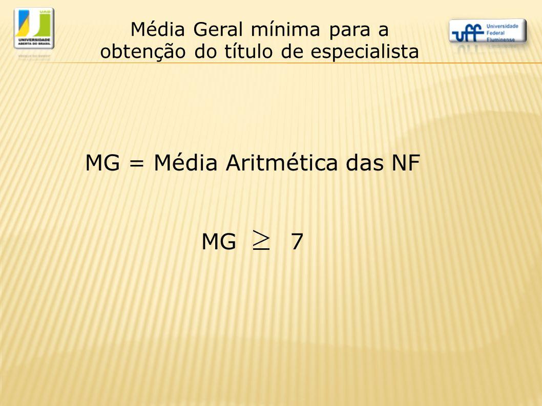 MG = Média Aritmética das NF MG 7