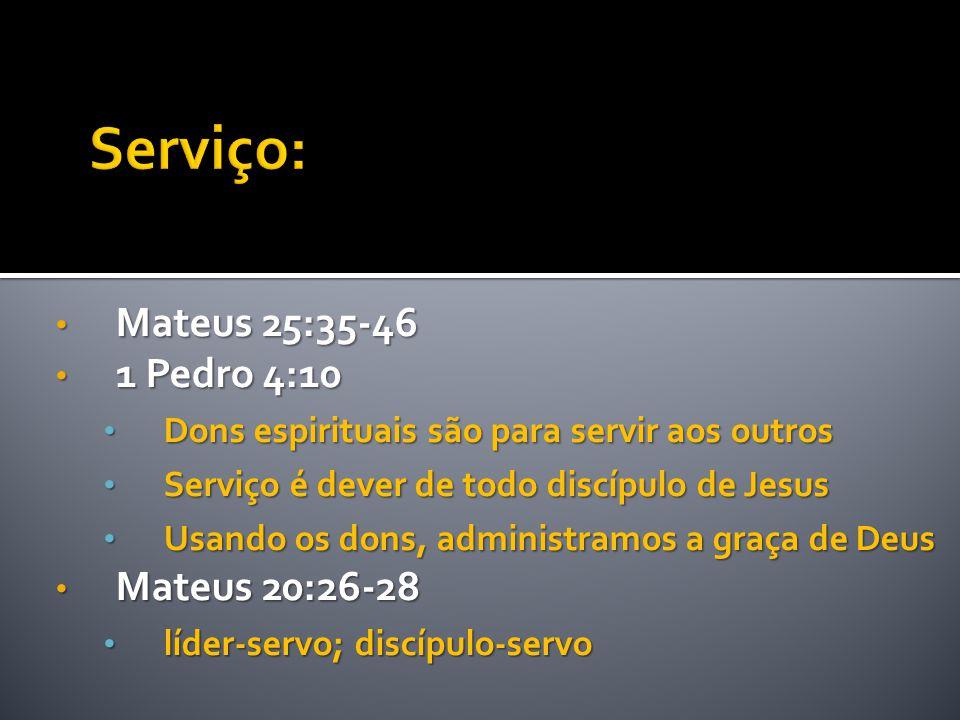 Serviço: Mateus 25:35-46 1 Pedro 4:10 Mateus 20:26-28