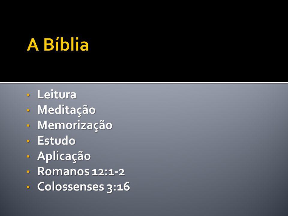 A Bíblia Leitura Meditação Memorização Estudo Aplicação Romanos 12:1-2