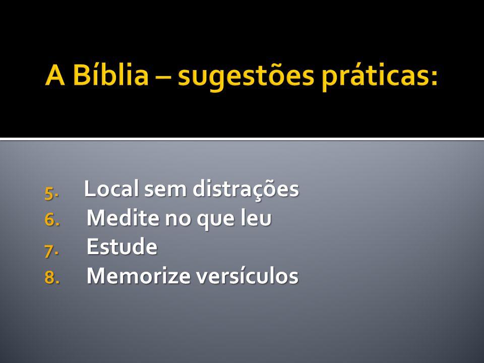 A Bíblia – sugestões práticas: