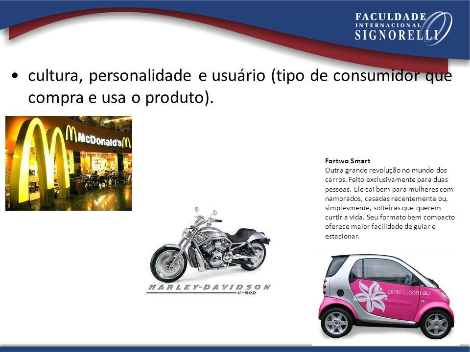 cultura, personalidade e usuário (tipo de consumidor que compra e usa o produto).