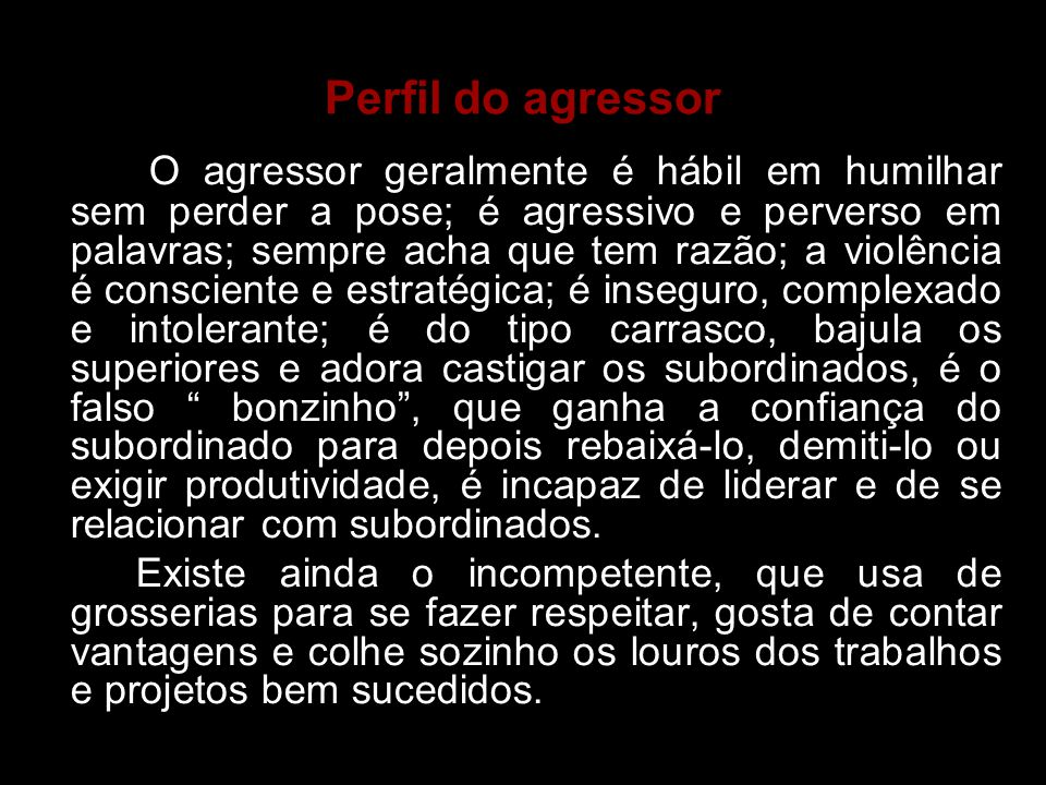 Perfil do agressor