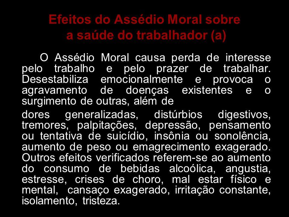 Efeitos do Assédio Moral sobre a saúde do trabalhador (a)