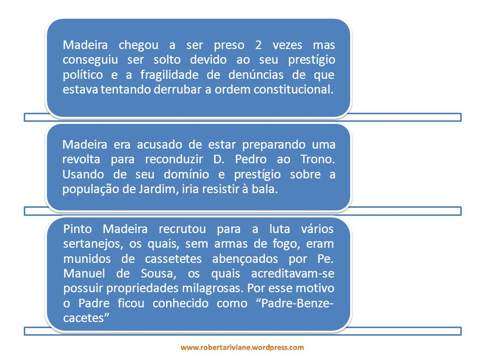 Madeira chegou a ser preso 2 vezes mas conseguiu ser solto devido ao seu prestígio político e a fragilidade de denúncias de que estava tentando derrubar a ordem constitucional.