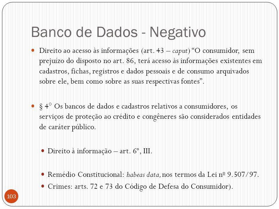 Banco de Dados - Negativo
