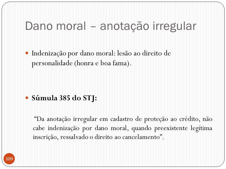 Dano moral – anotação irregular