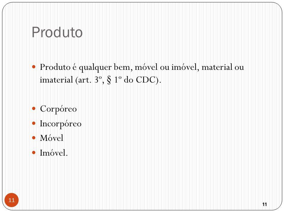 Produto Produto é qualquer bem, móvel ou imóvel, material ou imaterial (art. 3º, § 1º do CDC). Corpóreo.