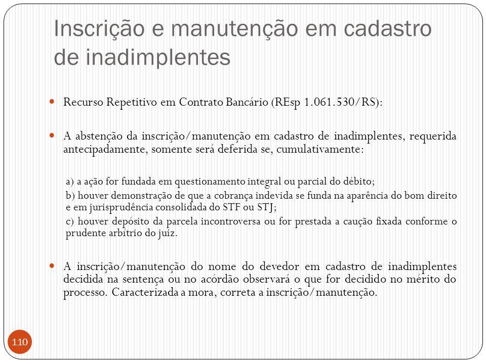 Inscrição e manutenção em cadastro de inadimplentes