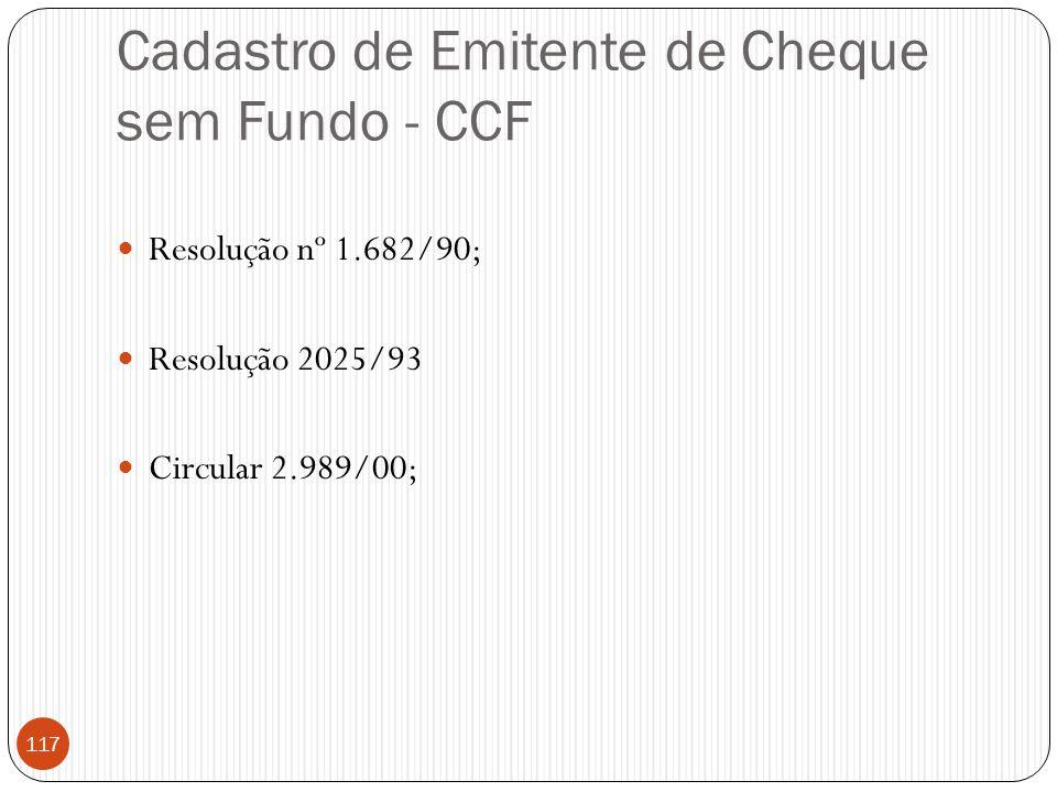 Cadastro de Emitente de Cheque sem Fundo - CCF