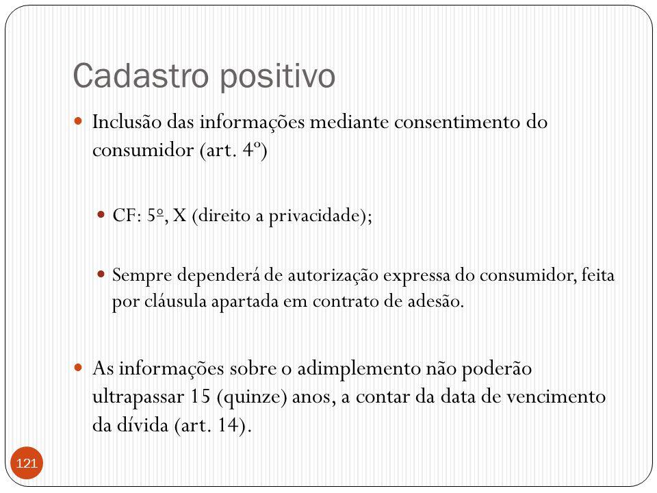 Cadastro positivo Inclusão das informações mediante consentimento do consumidor (art. 4º) CF: 5o, X (direito a privacidade);