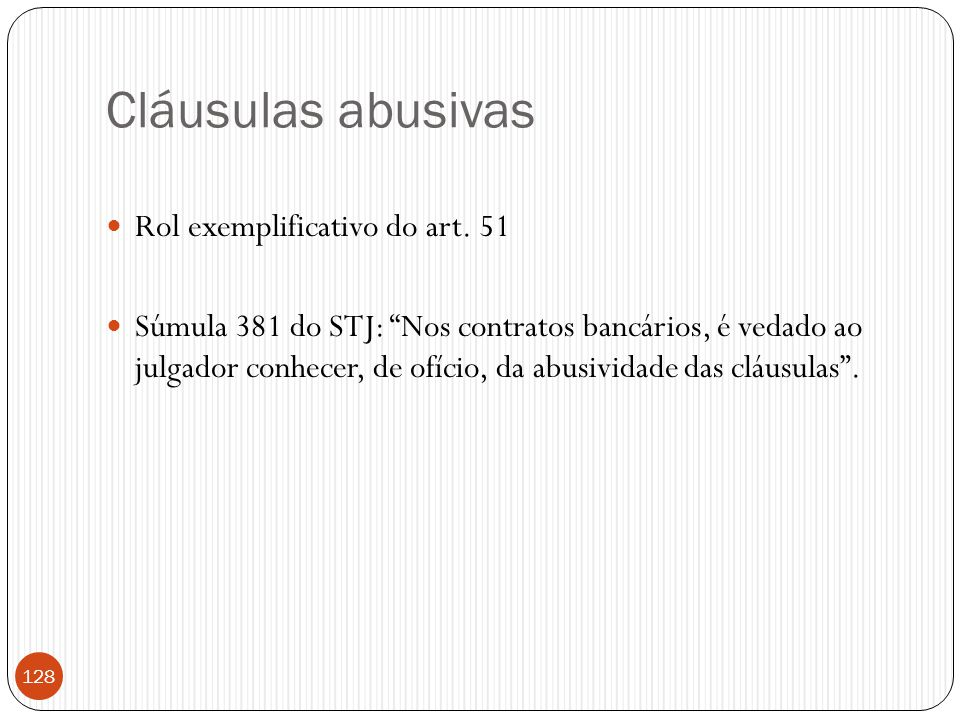 Cláusulas abusivas Rol exemplificativo do art. 51