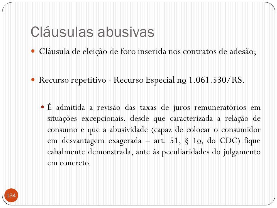 Cláusulas abusivas Cláusula de eleição de foro inserida nos contratos de adesão; Recurso repetitivo - Recurso Especial no 1.061.530/RS.