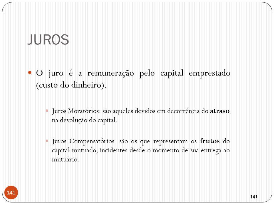 JUROS O juro é a remuneração pelo capital emprestado (custo do dinheiro).