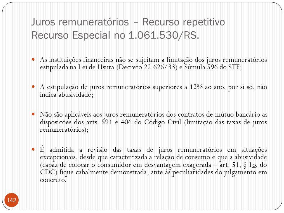 Juros remuneratórios – Recurso repetitivo Recurso Especial no 1. 061