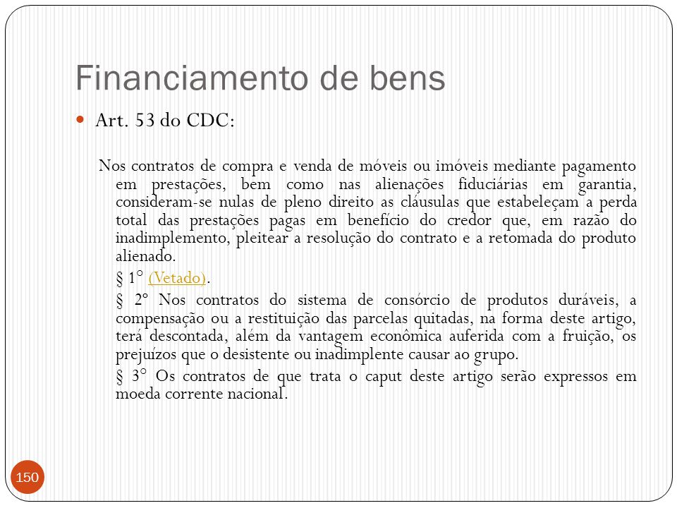 Financiamento de bens Art. 53 do CDC: