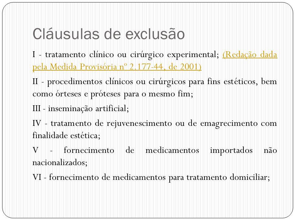Cláusulas de exclusão