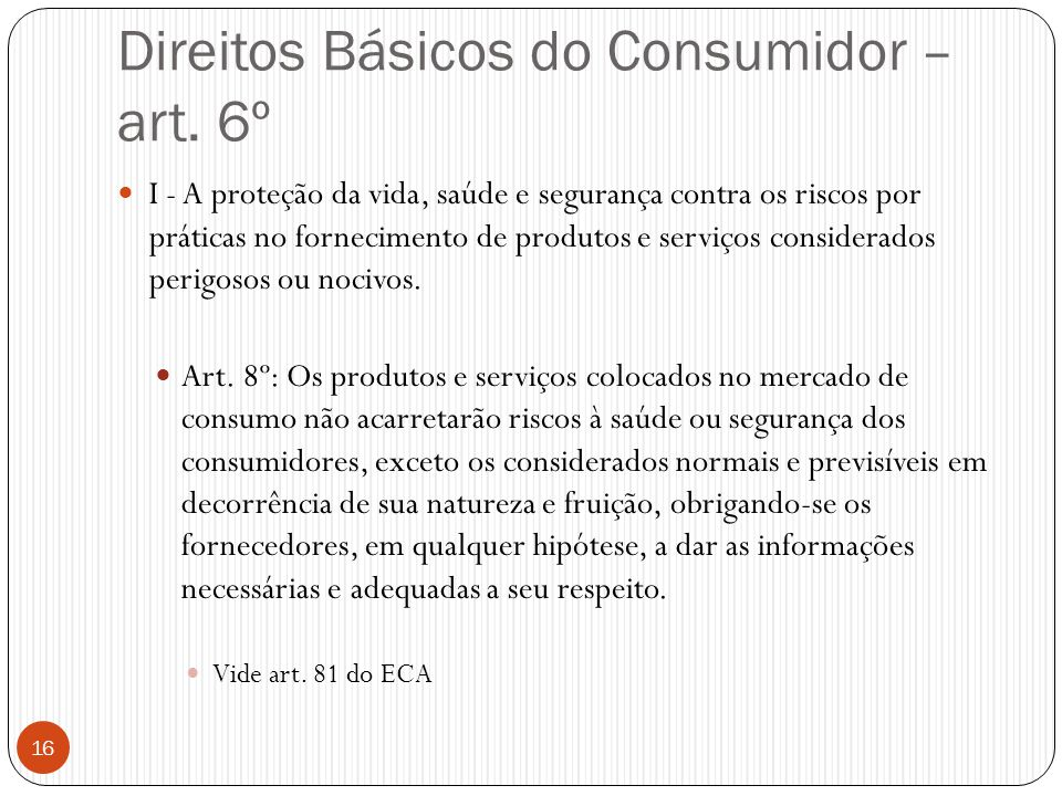 Direitos Básicos do Consumidor – art. 6º