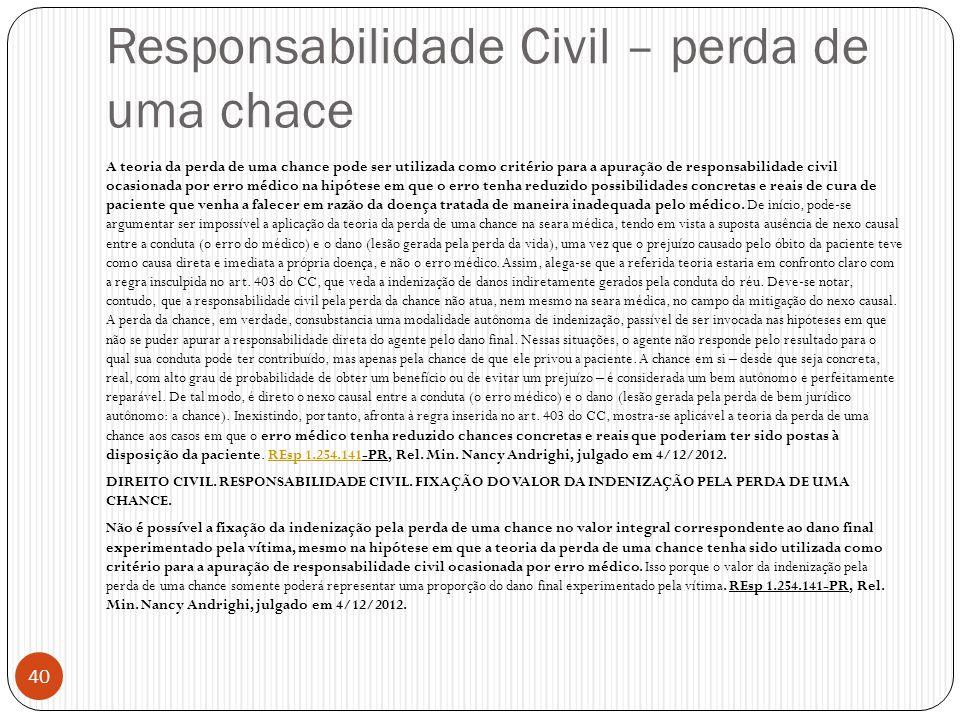 Responsabilidade Civil – perda de uma chace
