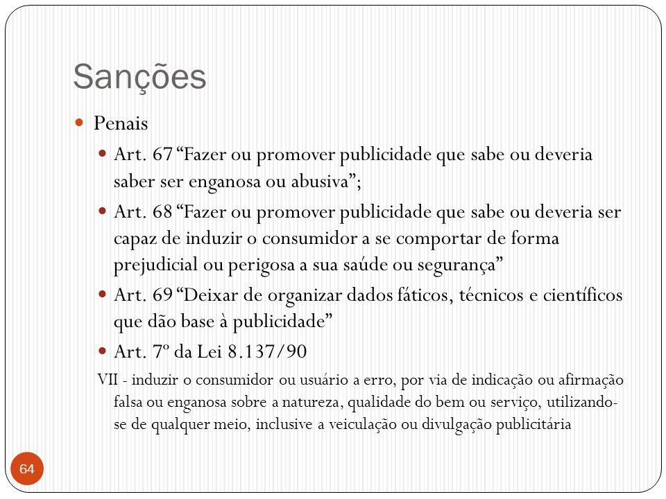 Sanções Penais. Art. 67 Fazer ou promover publicidade que sabe ou deveria saber ser enganosa ou abusiva ;