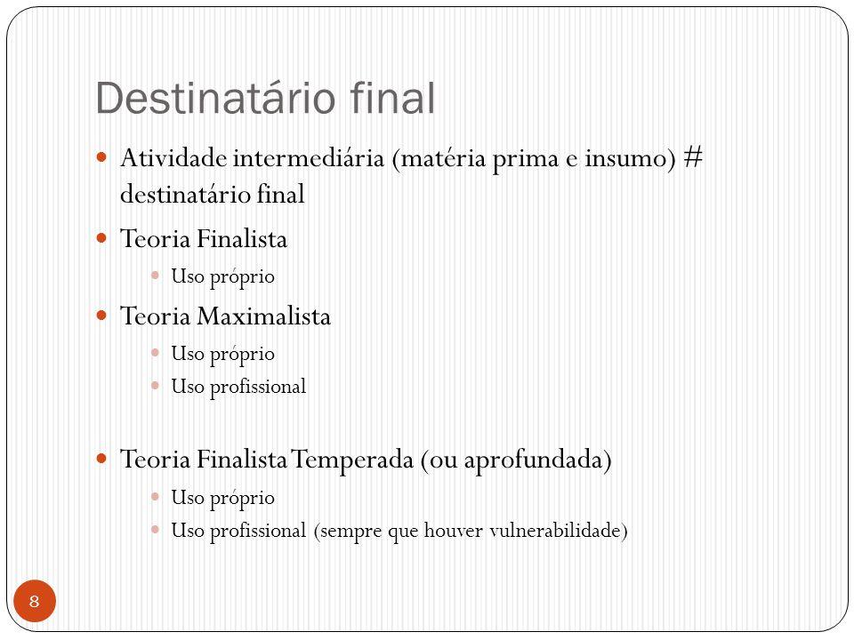 Destinatário final Atividade intermediária (matéria prima e insumo) # destinatário final. Teoria Finalista.