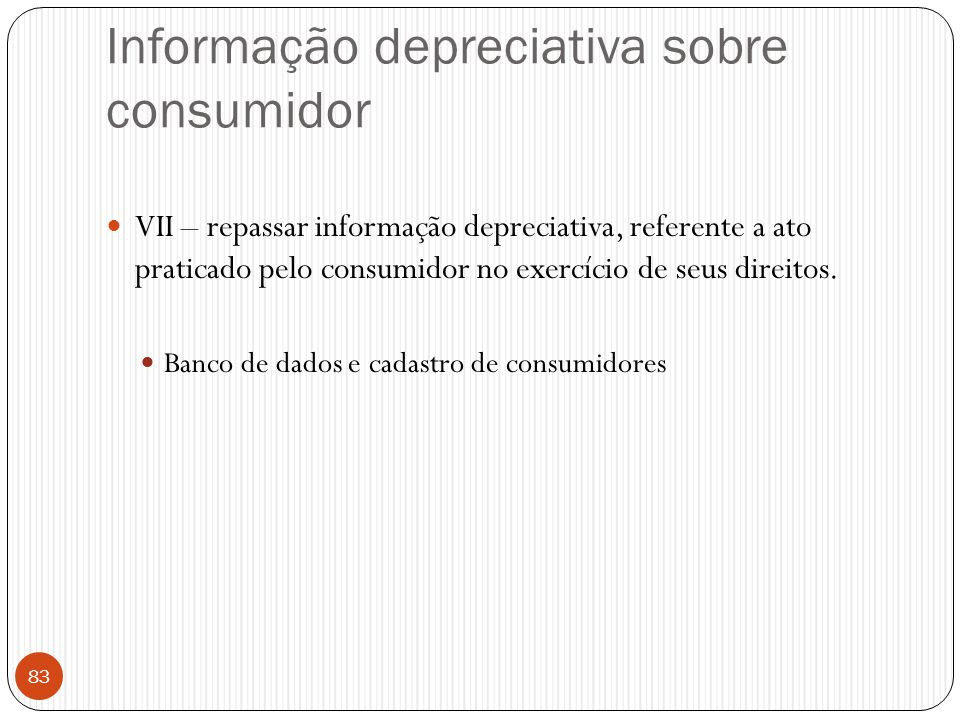 Informação depreciativa sobre consumidor