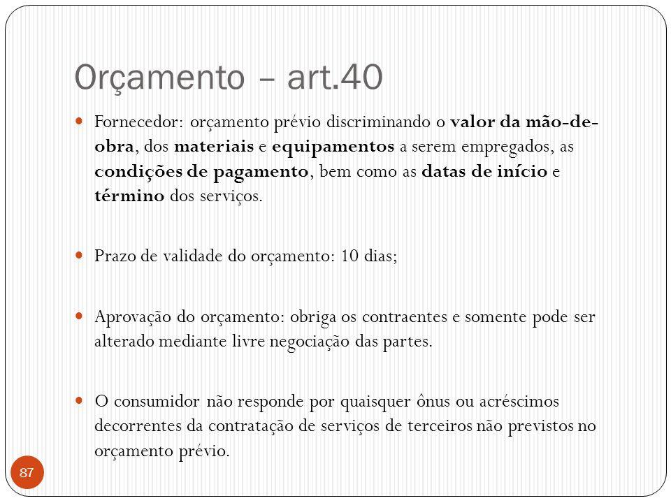 Orçamento – art.40