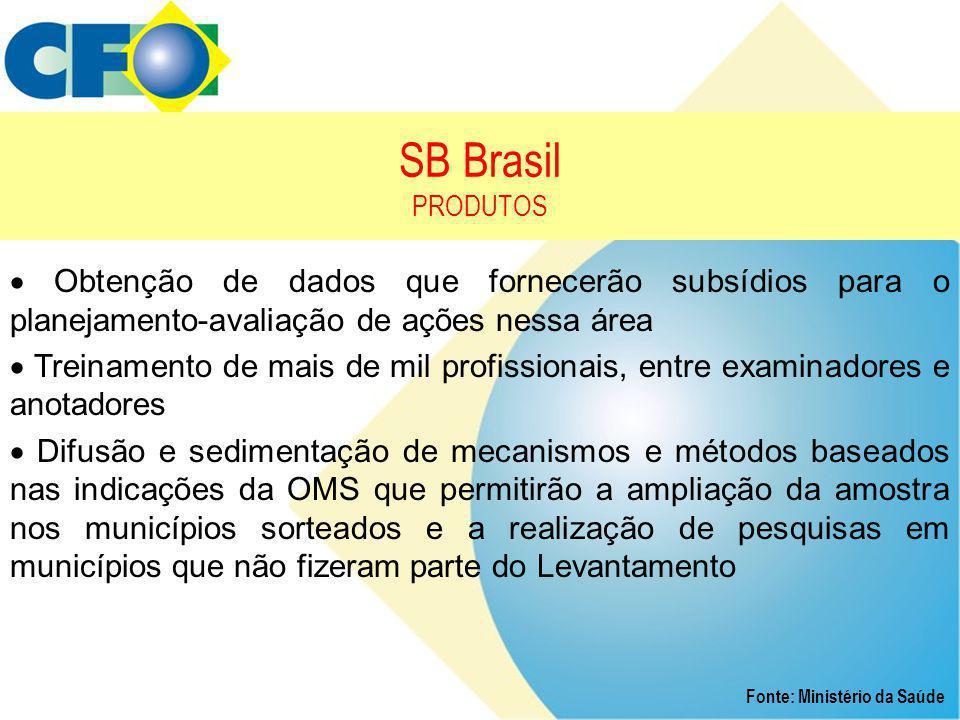 SB Brasil PRODUTOS  Obtenção de dados que fornecerão subsídios para o planejamento-avaliação de ações nessa área.