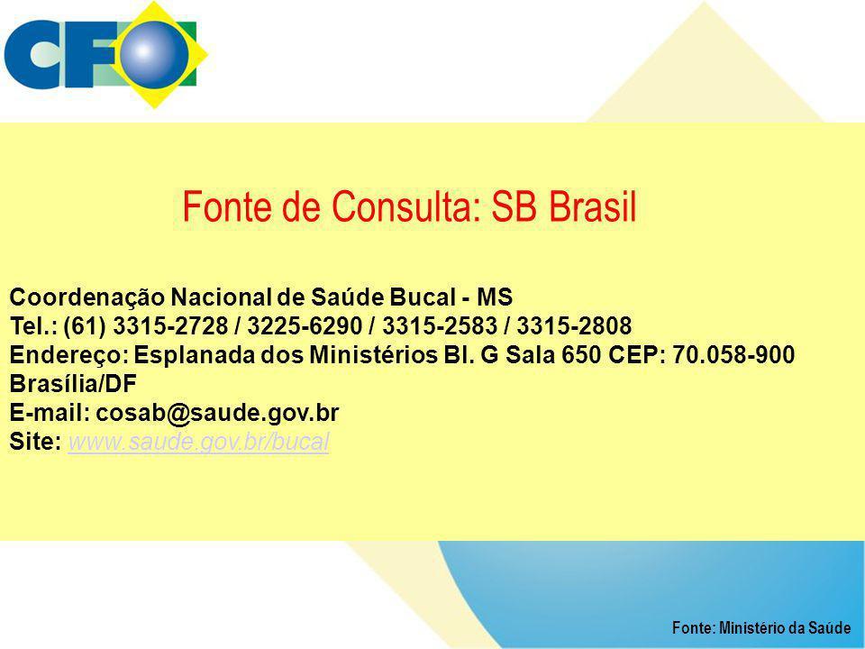 Fonte de Consulta: SB Brasil Coordenação Nacional de Saúde Bucal - MS Tel.: (61) 3315-2728 / 3225-6290 / 3315-2583 / 3315-2808 Endereço: Esplanada dos Ministérios Bl. G Sala 650 CEP: 70.058-900 Brasília/DF E-mail: cosab@saude.gov.br Site: www.saude.gov.br/bucal