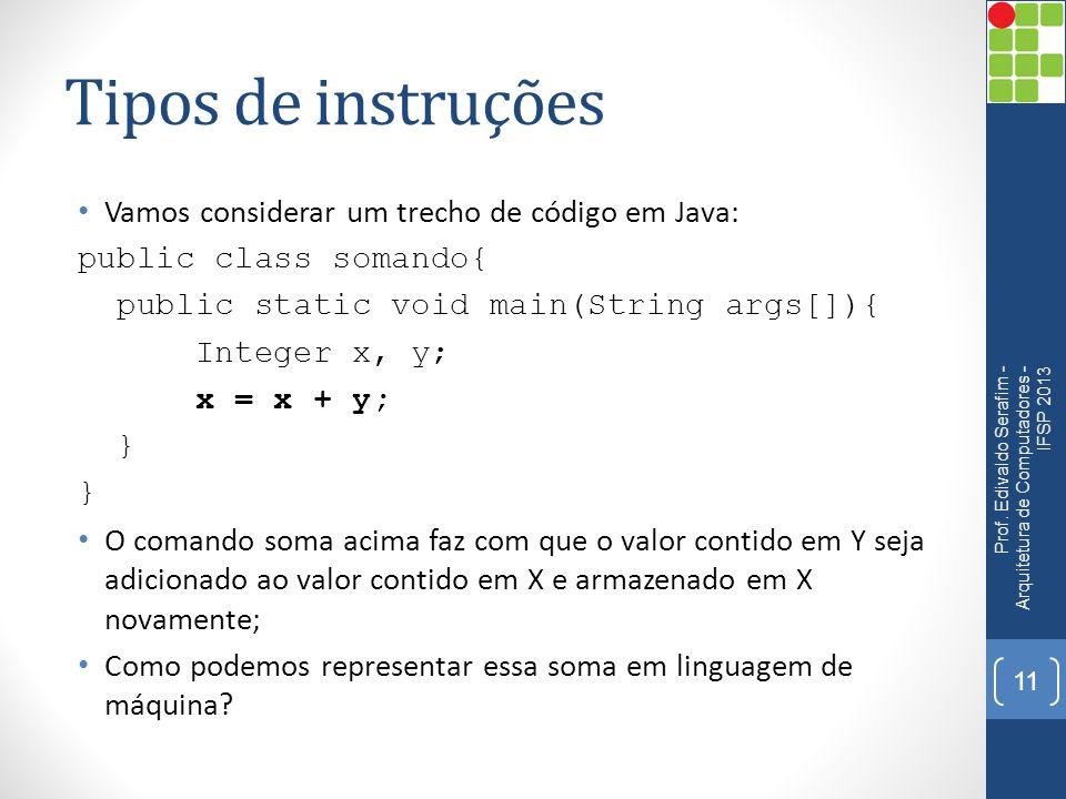 Tipos de instruções Vamos considerar um trecho de código em Java: