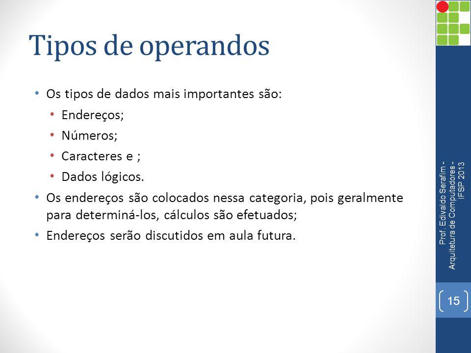 Tipos de operandos Os tipos de dados mais importantes são: Endereços;
