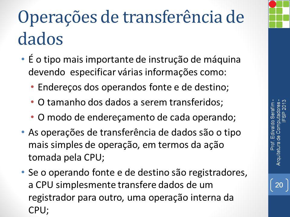 Operações de transferência de dados
