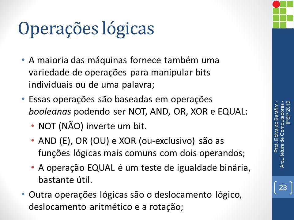 Operações lógicas A maioria das máquinas fornece também uma variedade de operações para manipular bits individuais ou de uma palavra;