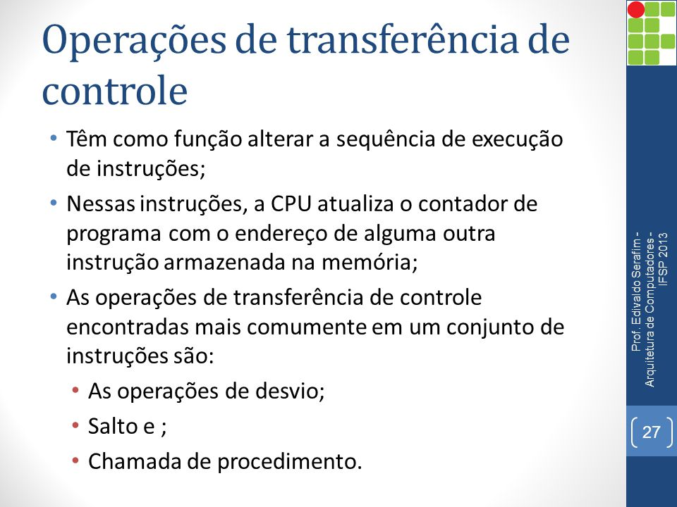 Operações de transferência de controle