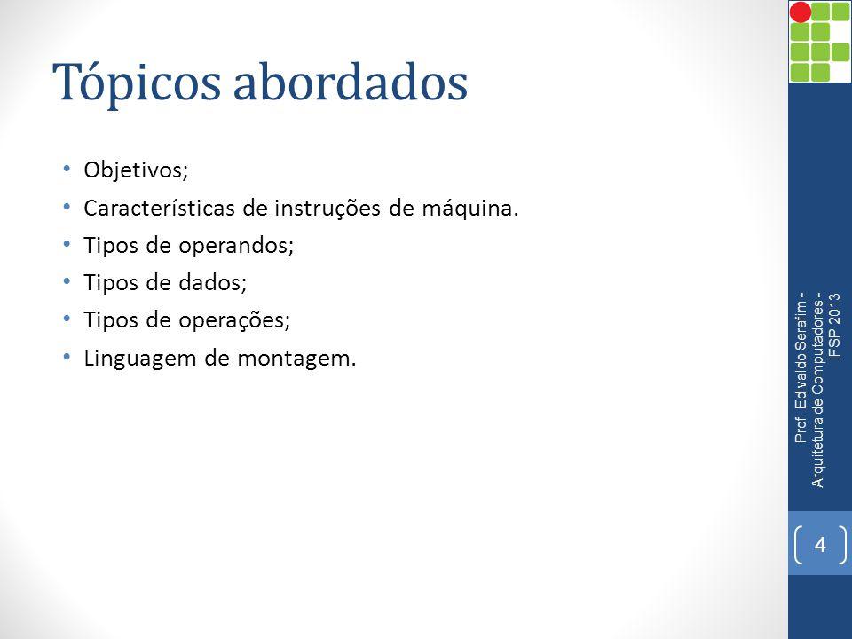 Tópicos abordados Objetivos; Características de instruções de máquina.