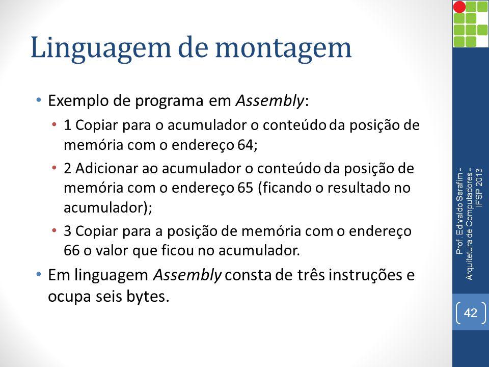 Linguagem de montagem Exemplo de programa em Assembly: