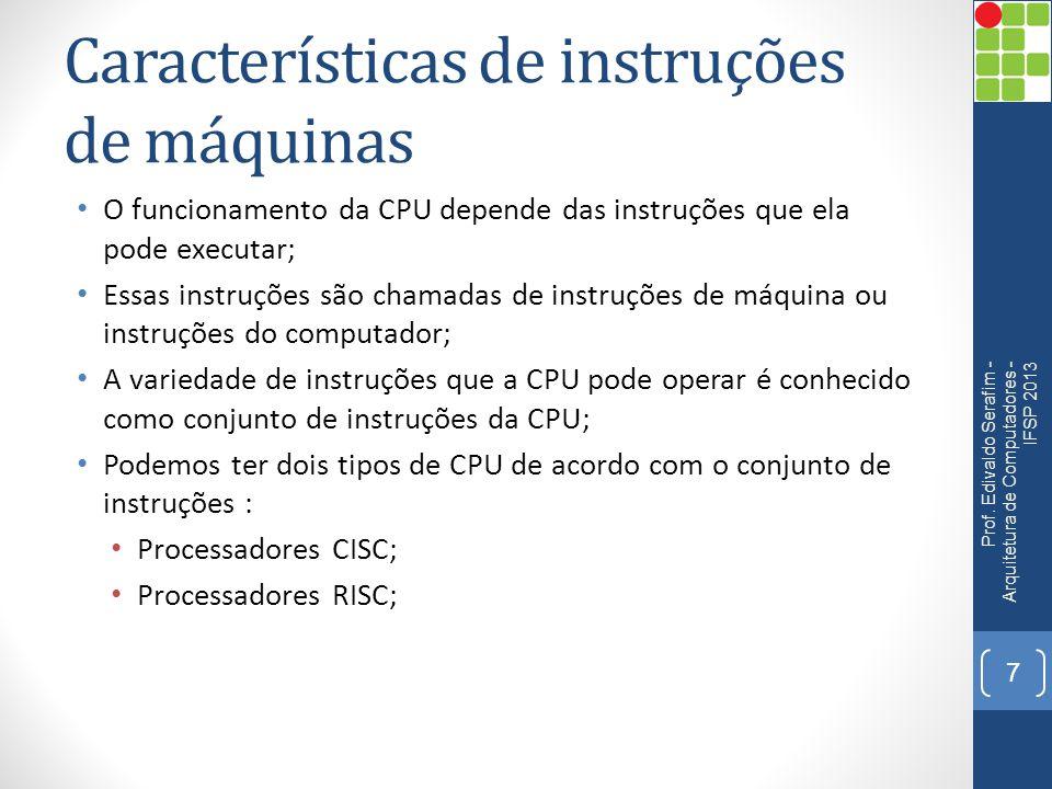 Características de instruções de máquinas