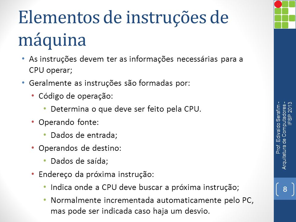 Elementos de instruções de máquina