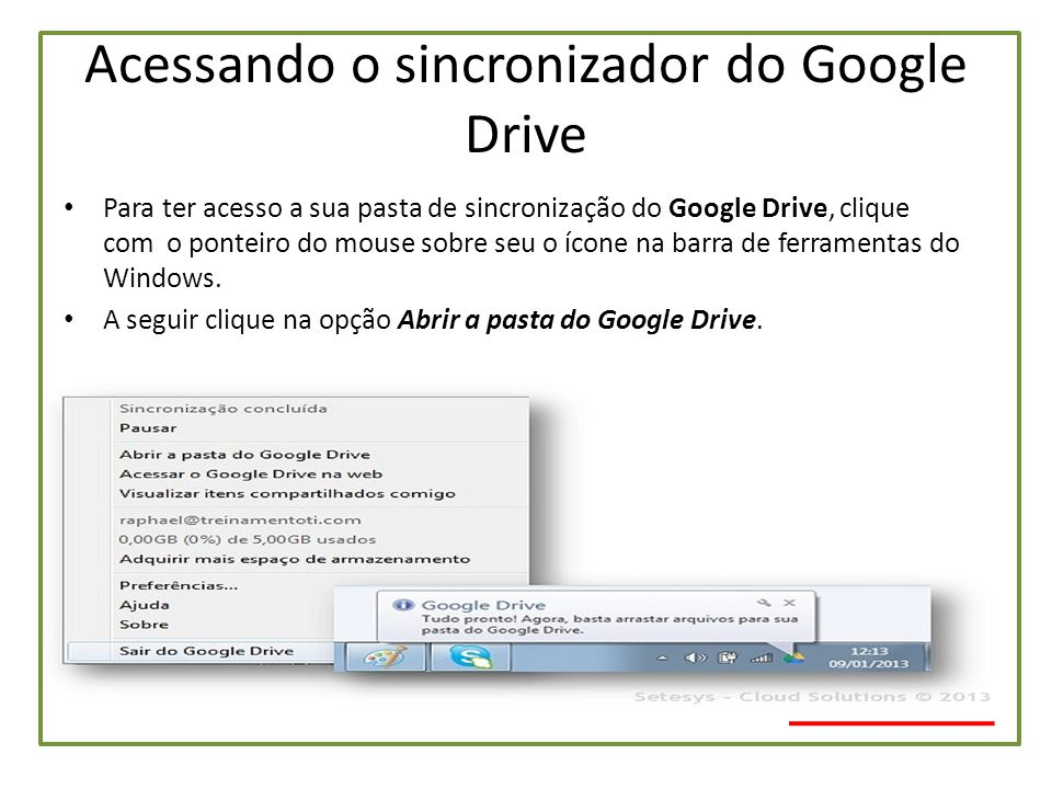 Acessando o sincronizador do Google Drive