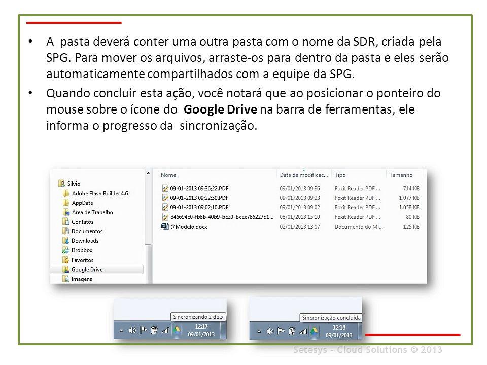 A pasta deverá conter uma outra pasta com o nome da SDR, criada pela SPG. Para mover os arquivos, arraste-os para dentro da pasta e eles serão automaticamente compartilhados com a equipe da SPG.