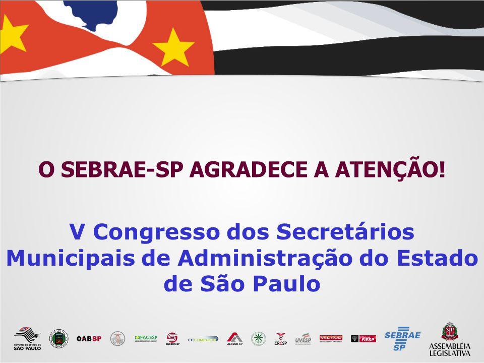 O SEBRAE-SP AGRADECE A ATENÇÃO!