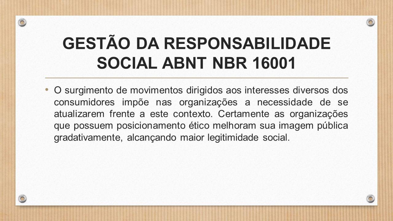 GESTÃO DA RESPONSABILIDADE SOCIAL ABNT NBR 16001