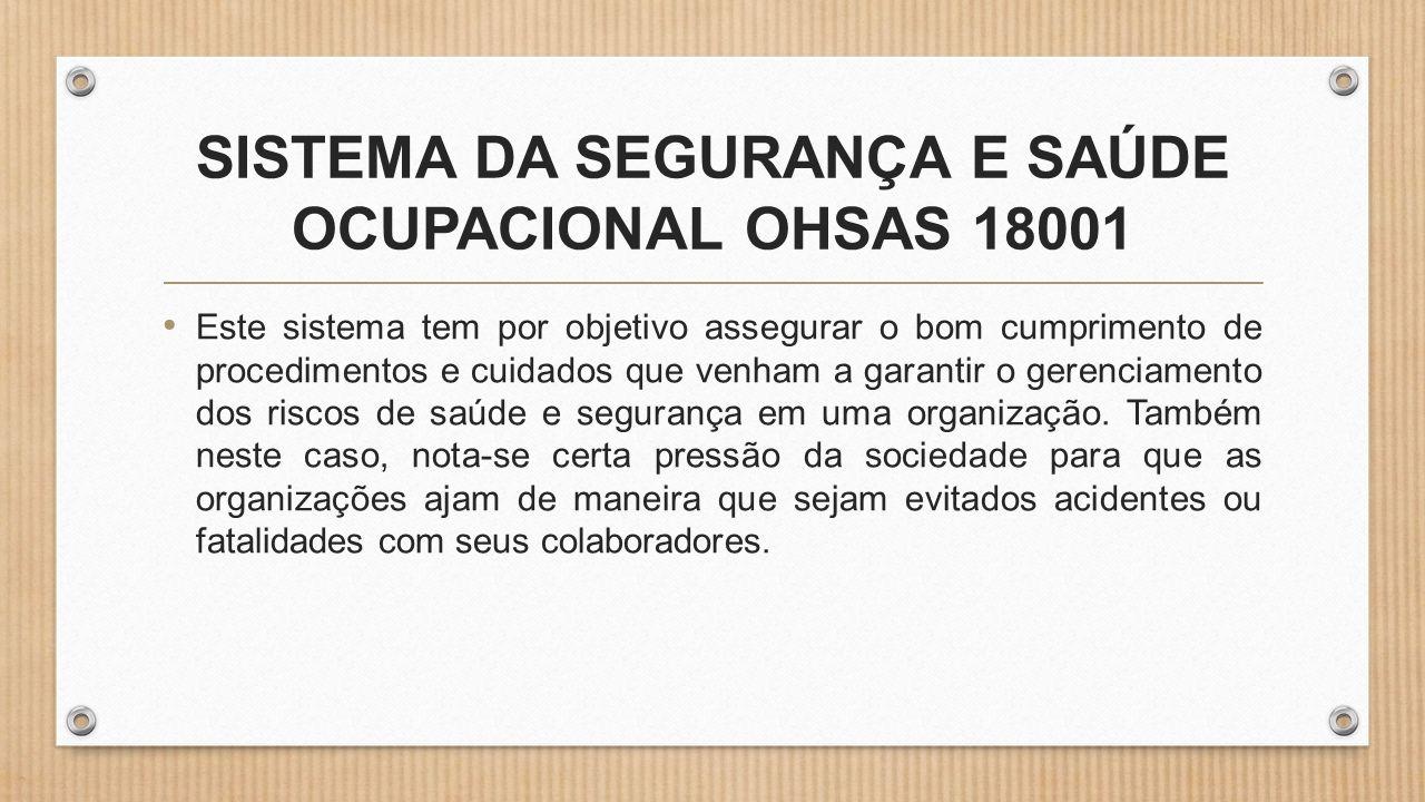 SISTEMA DA SEGURANÇA E SAÚDE OCUPACIONAL OHSAS 18001
