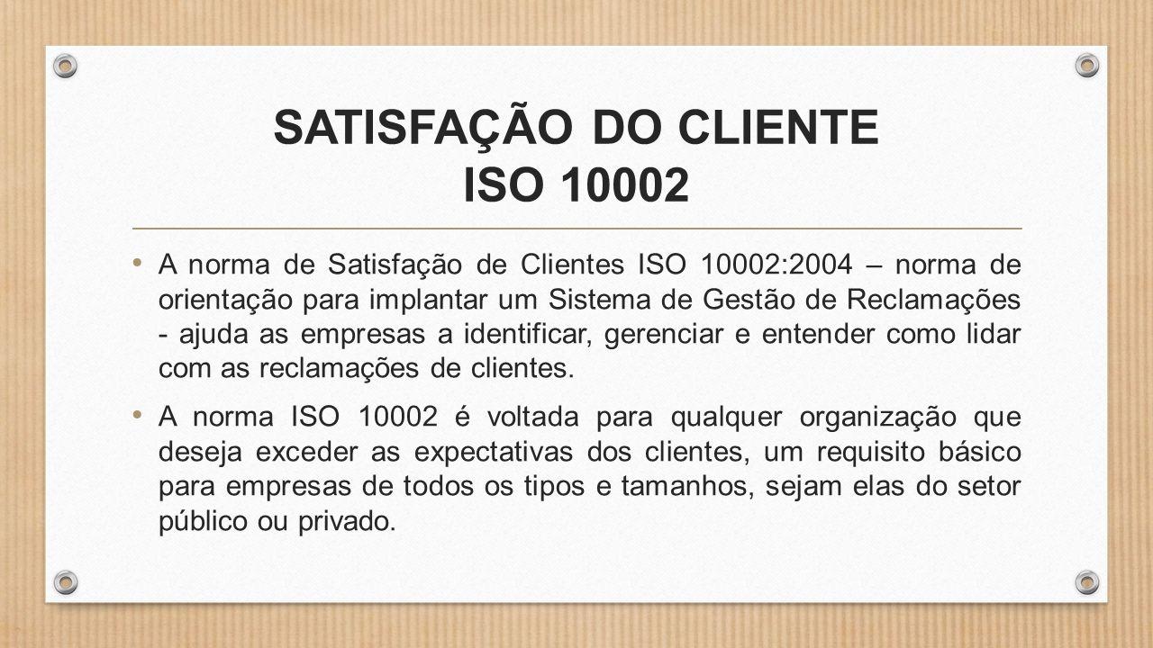 SATISFAÇÃO DO CLIENTE ISO 10002