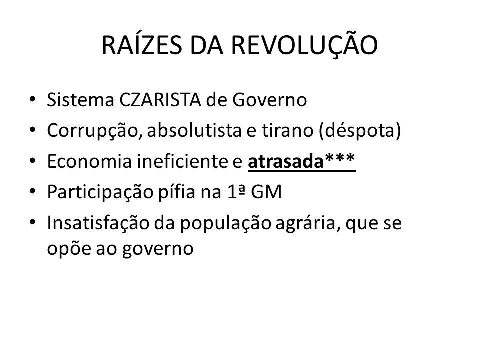 RAÍZES DA REVOLUÇÃO Sistema CZARISTA de Governo