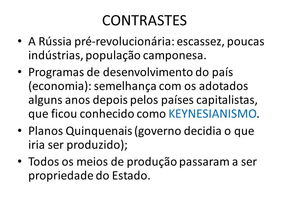 CONTRASTES A Rússia pré-revolucionária: escassez, poucas indústrias, população camponesa.