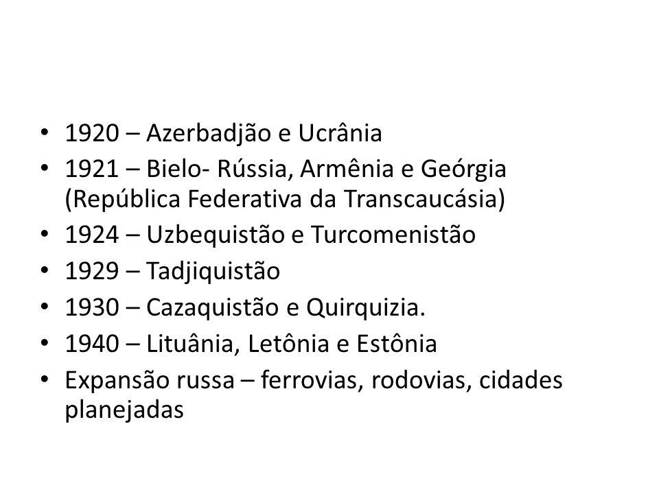 1920 – Azerbadjão e Ucrânia 1921 – Bielo- Rússia, Armênia e Geórgia (República Federativa da Transcaucásia)