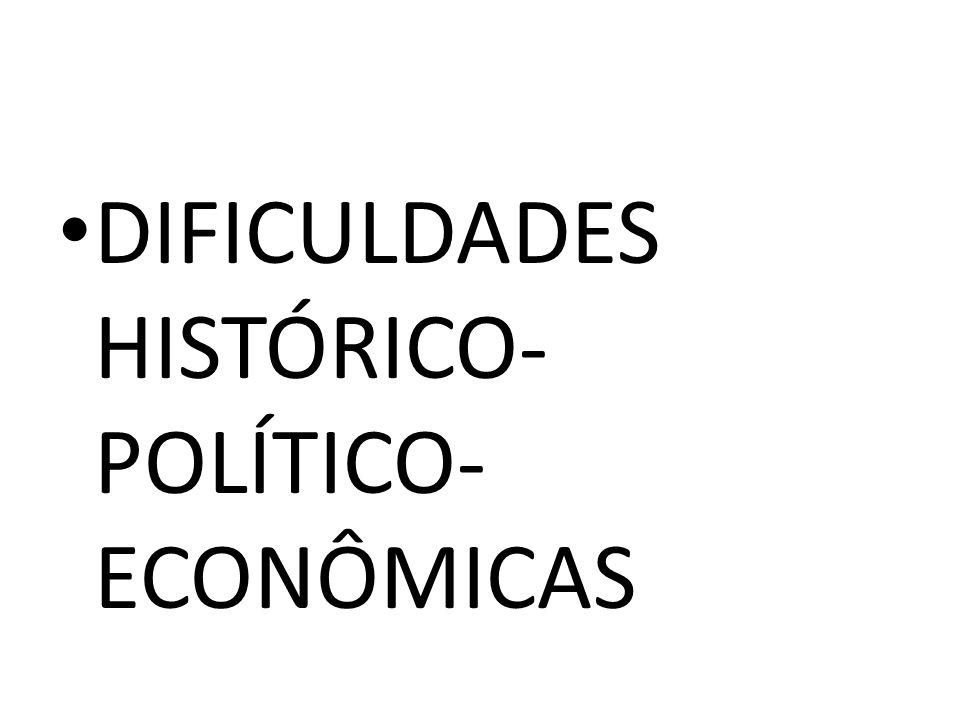 DIFICULDADES HISTÓRICO-POLÍTICO-ECONÔMICAS