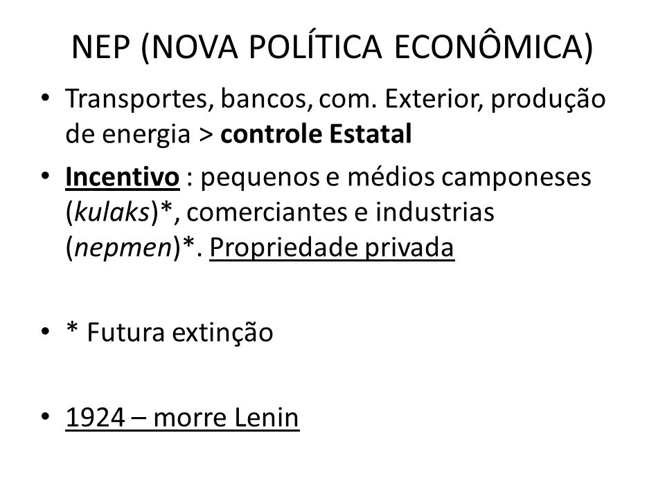 NEP (NOVA POLÍTICA ECONÔMICA)