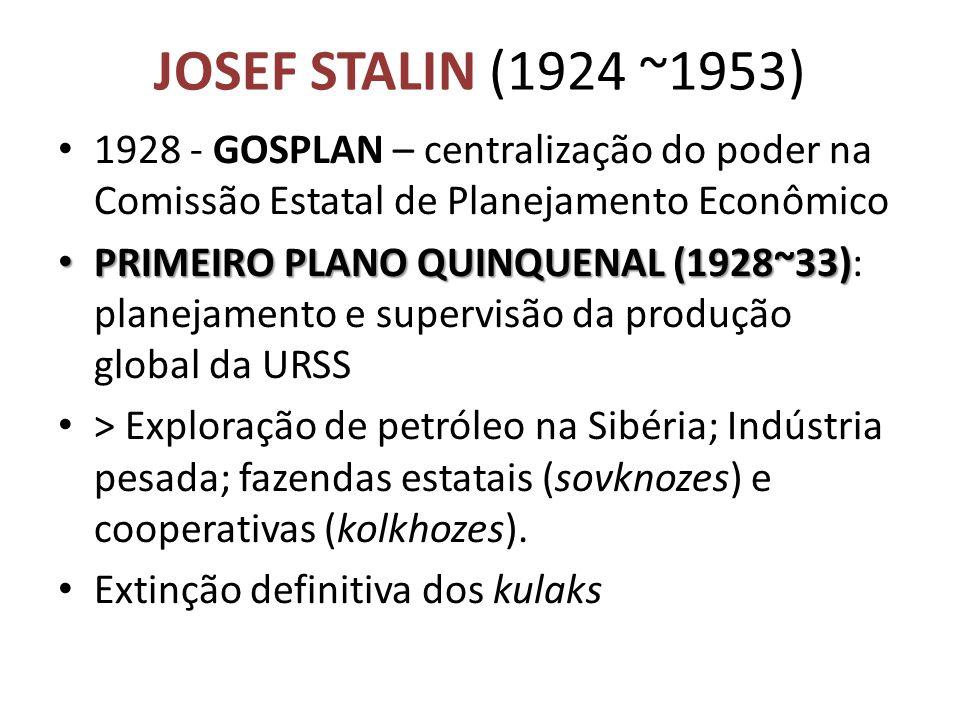 JOSEF STALIN (1924 ~1953) 1928 - GOSPLAN – centralização do poder na Comissão Estatal de Planejamento Econômico.