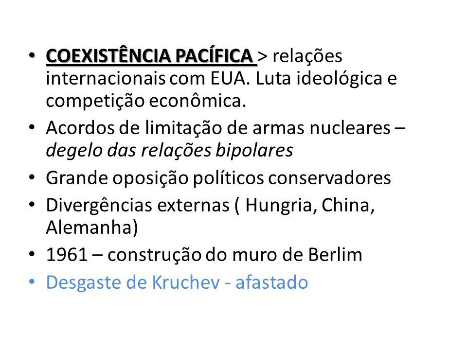 COEXISTÊNCIA PACÍFICA > relações internacionais com EUA